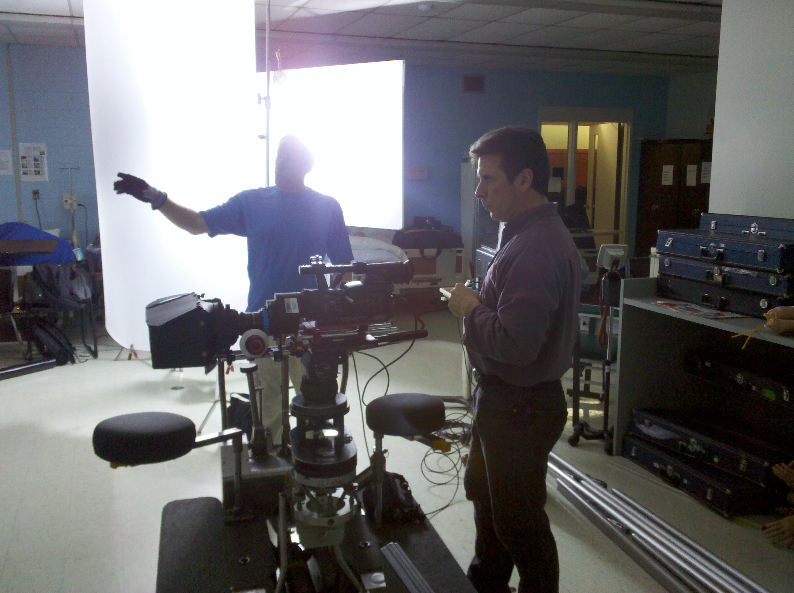 Rehearsing dolly move with Director of Photography