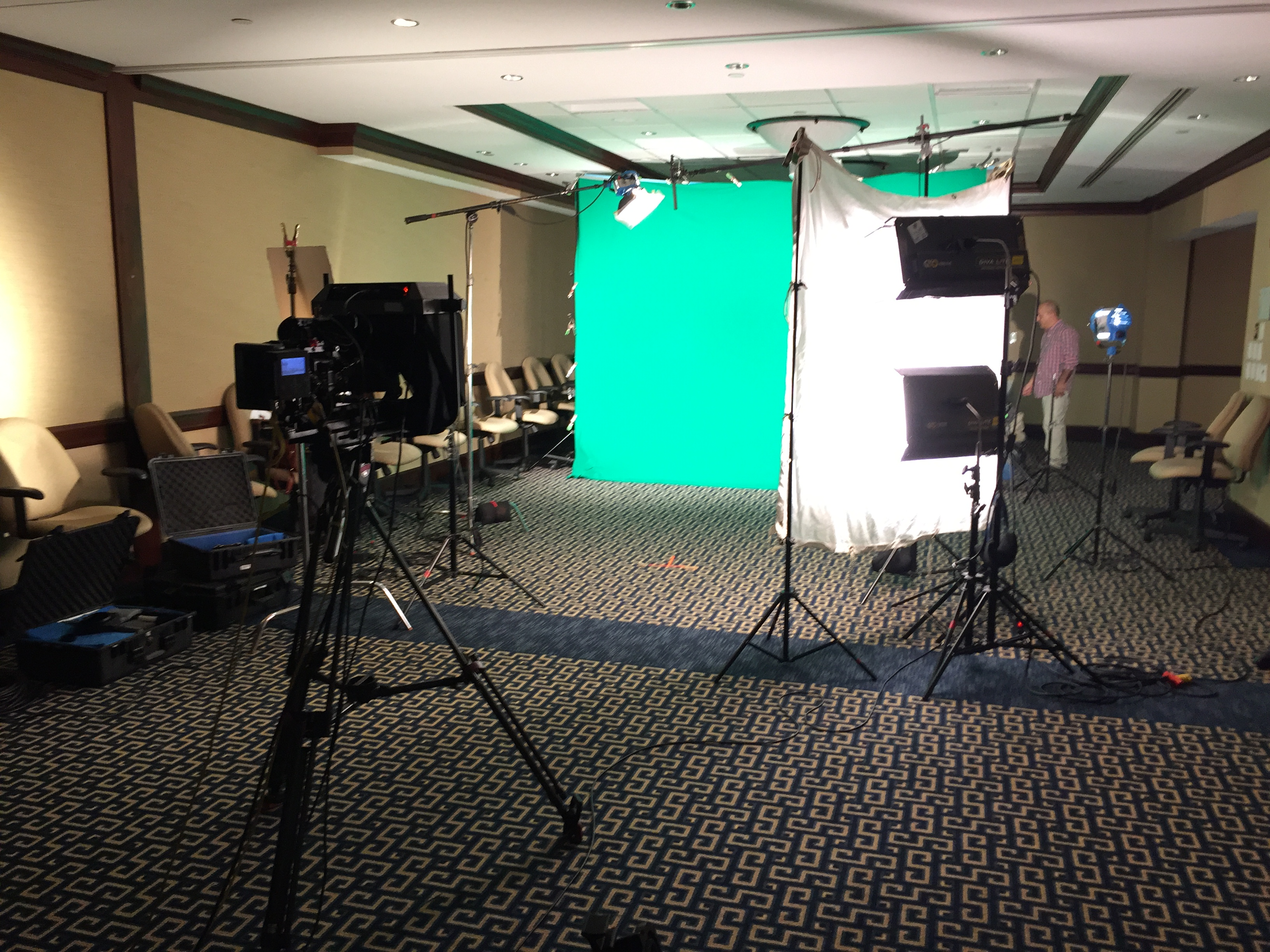 Turned conference room in Boston into a green screen studio